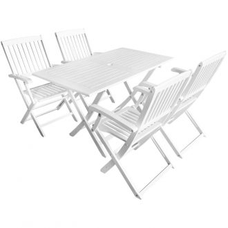 5 Piece Outdoor Dining Set Solid Acacia Wood White 1