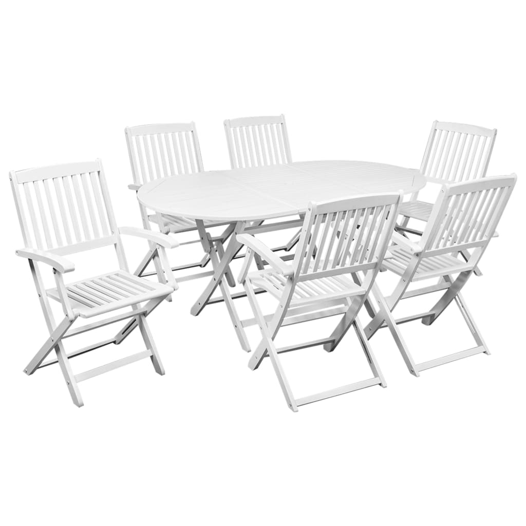 7 Piece Folding Outdoor Dining Set Solid Acacia Wood White