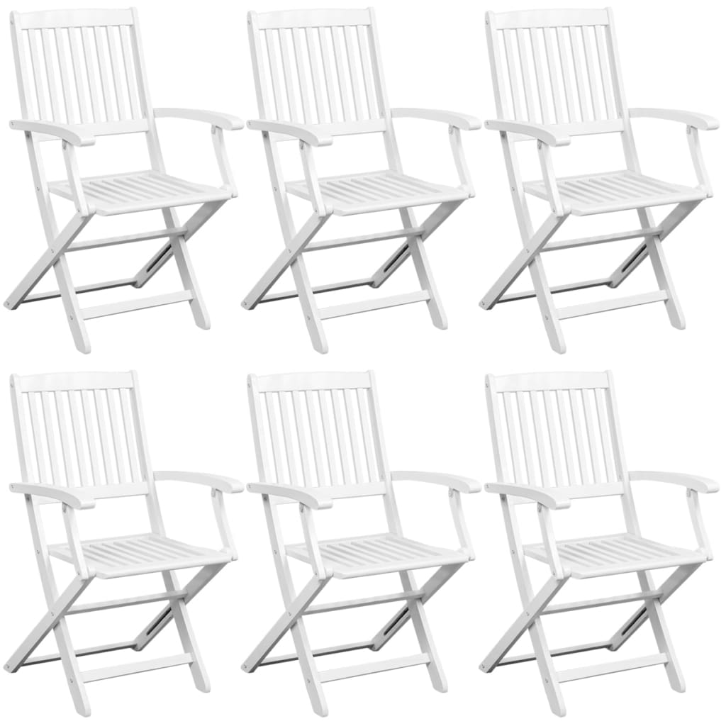 7 Piece Folding Outdoor Dining Set Solid Acacia Wood White 2