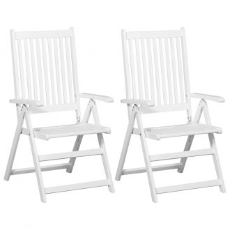 Folding Dining Chairs 2 pcs Solid Acacia Wood White 1
