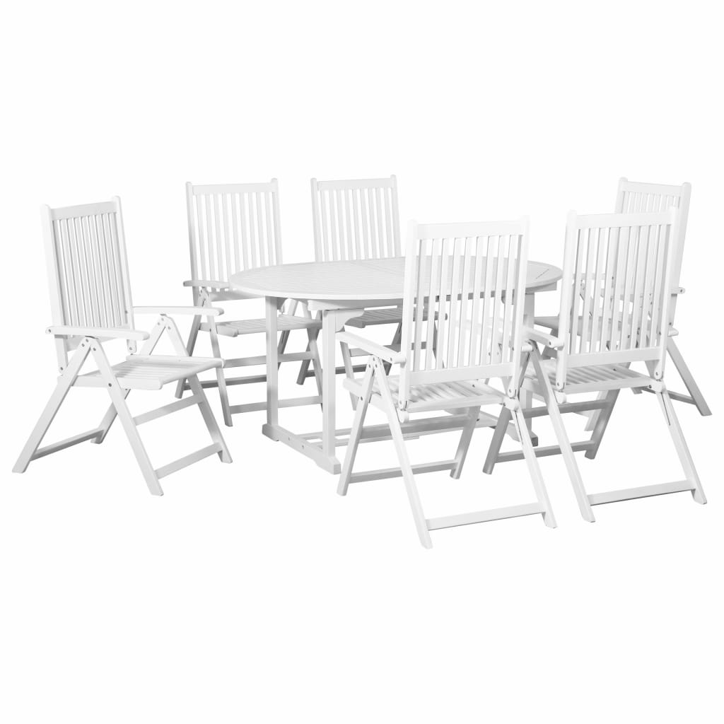 7 Piece Outdoor Dining Set Wood White with Extendable Table 1