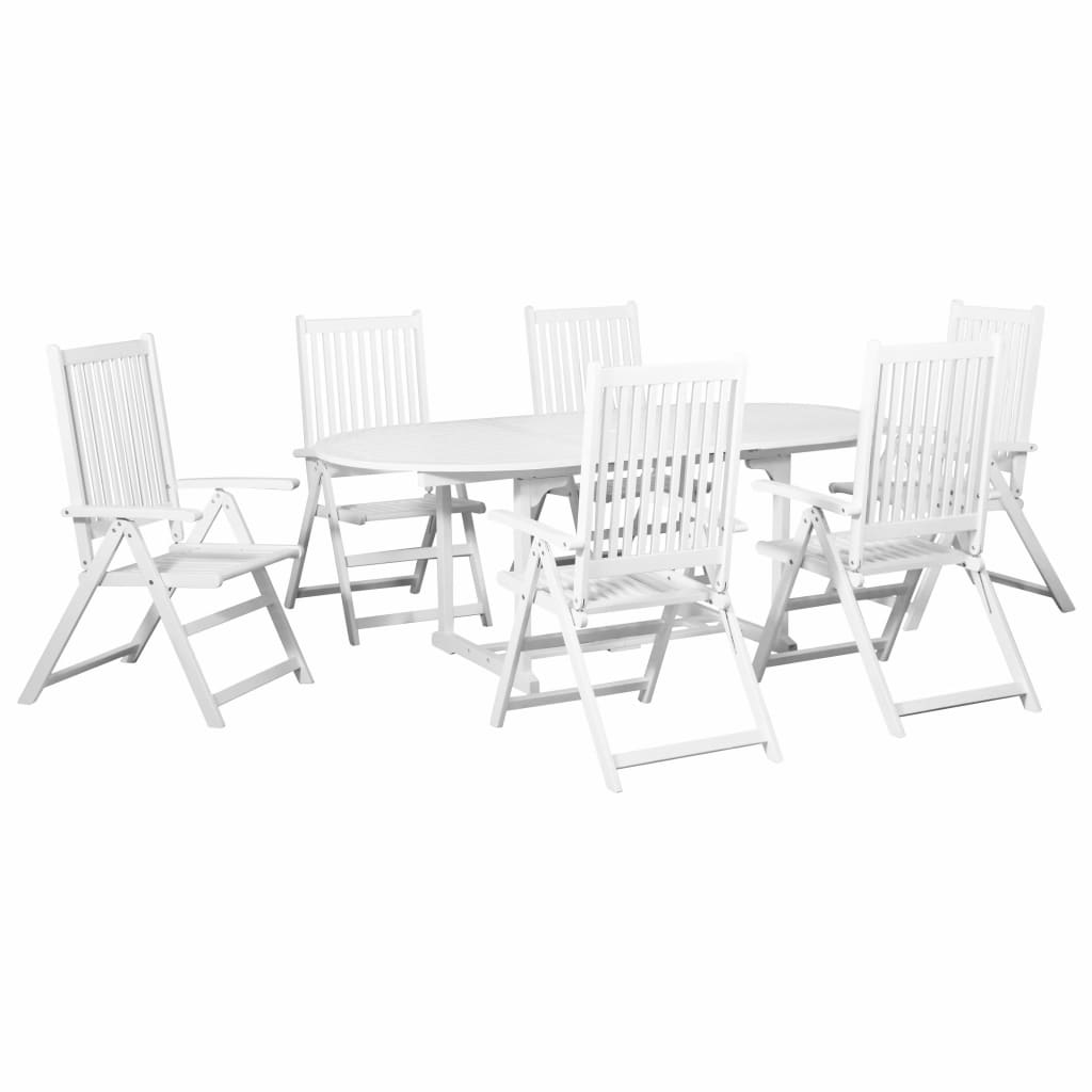 7 Piece Outdoor Dining Set Wood White with Extendable Table 3