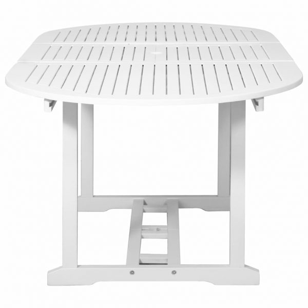 7 Piece Outdoor Dining Set Wood White with Extendable Table 8