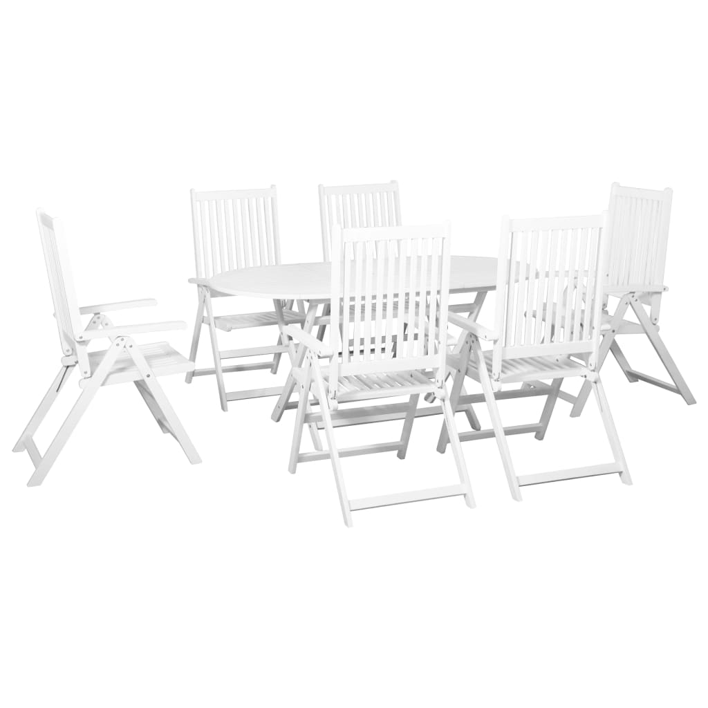 7 Piece Outdoor Dining Set Solid Acacia Wood White 1