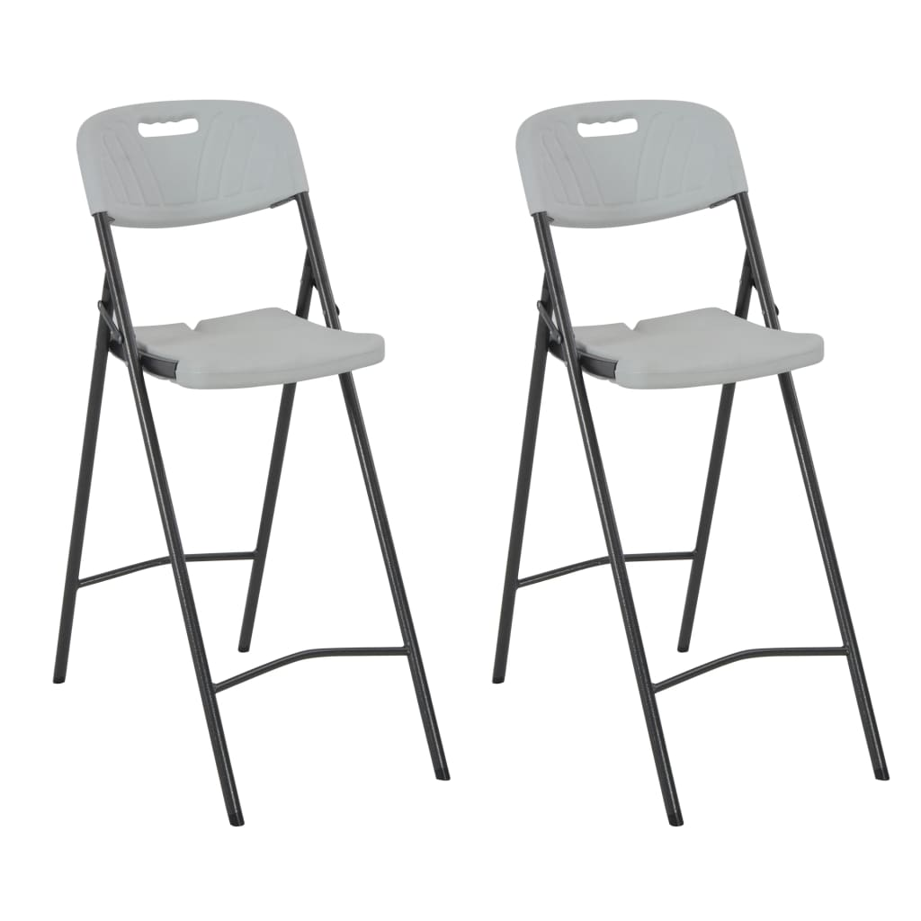 Folding Bar Chairs 2 pcs HDPE and Steel White 1