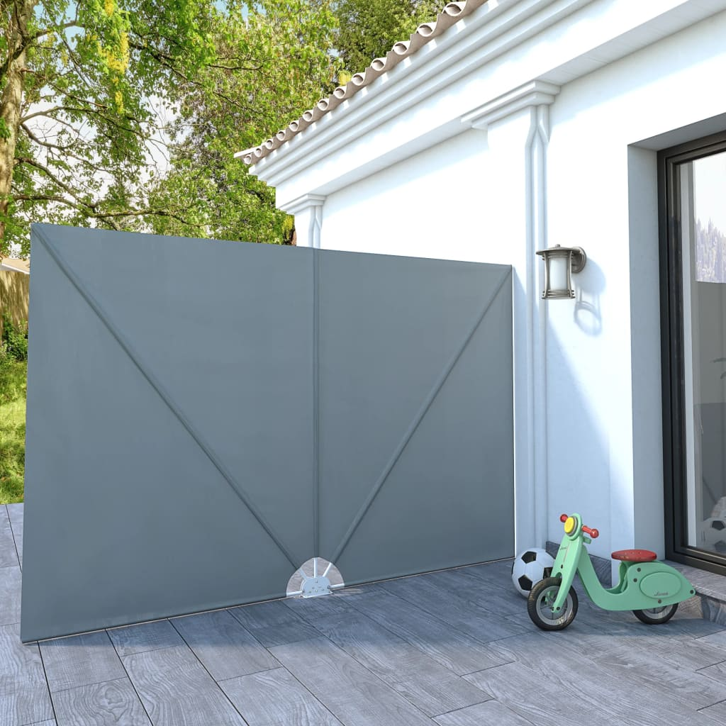 Collapsible Terrace Side Awning Grey 300x200 cm