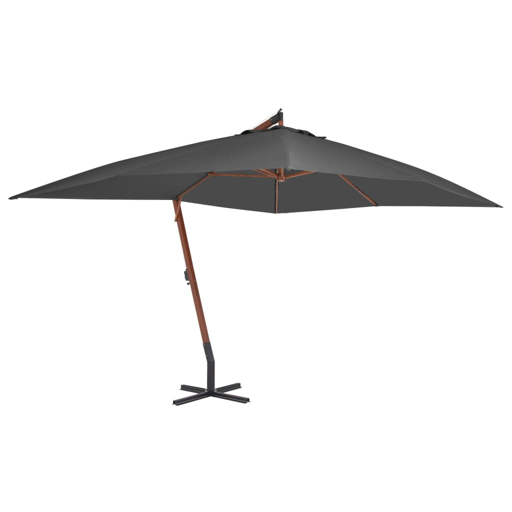 Cantilever Umbrella with Wooden Pole 400×300 cm Anthracite 1