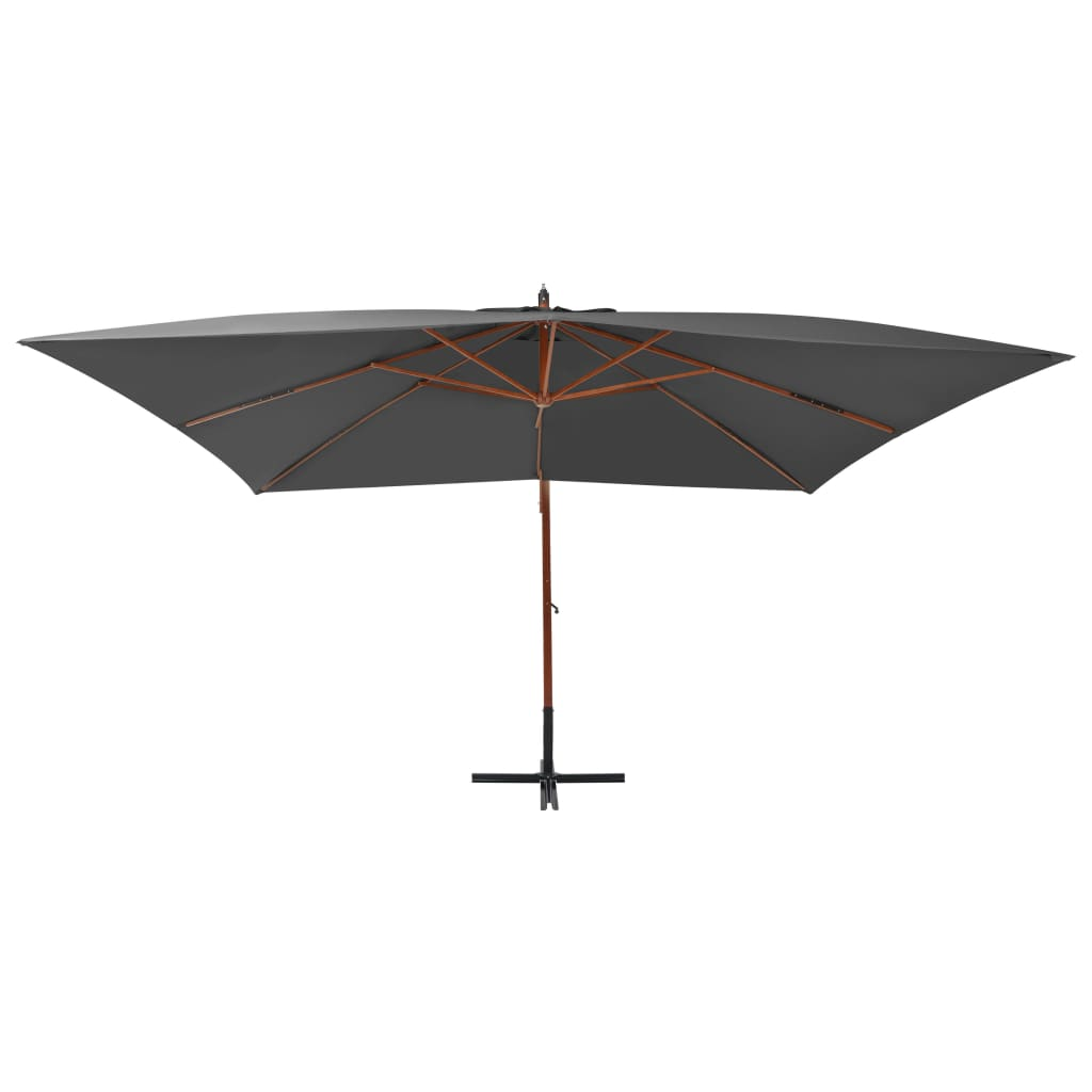 Cantilever Umbrella with Wooden Pole 400×300 cm Anthracite 3