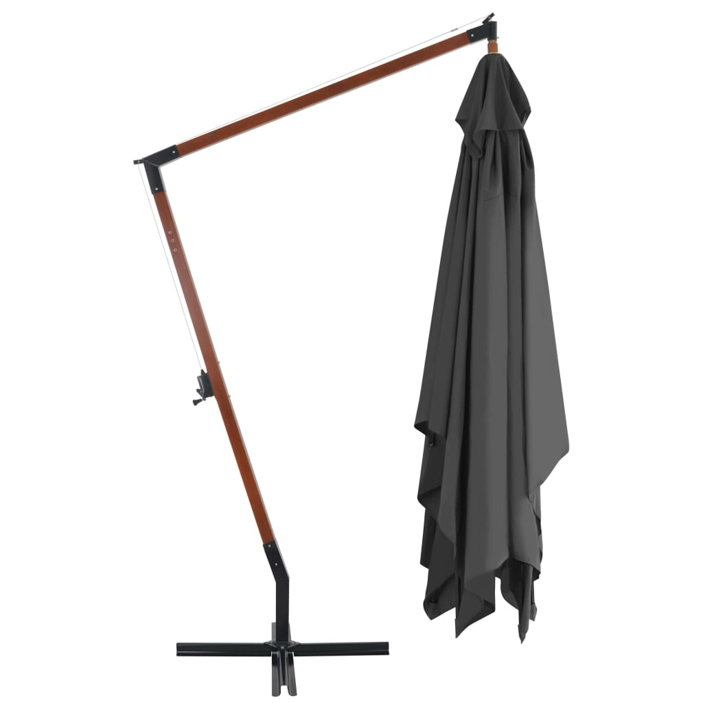 Cantilever Umbrella with Wooden Pole 400×300 cm Anthracite 4