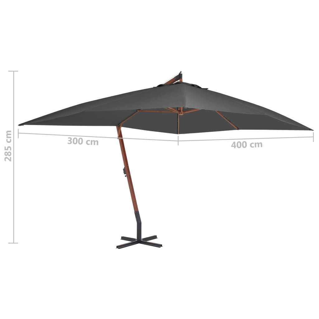 Cantilever Umbrella with Wooden Pole 400×300 cm Anthracite 5