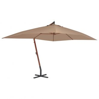 Cantilever Umbrella with Wooden Pole 400×300 cm Taupe 1