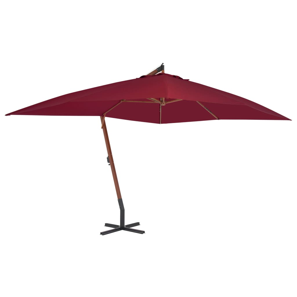 Cantilever Umbrella with Wooden Pole 400×300 cm Bordeaux Red 1