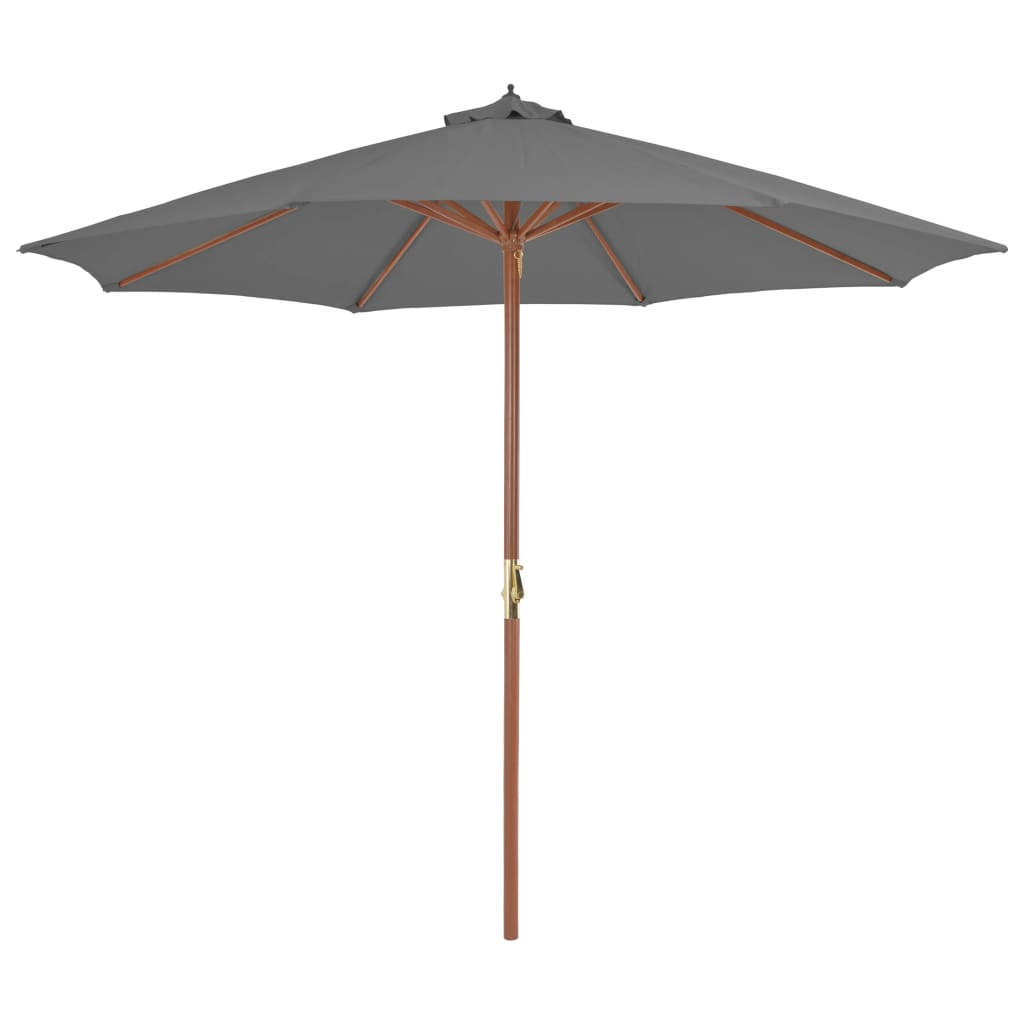 Outdoor Parasol with Wooden Pole 300 cm Anthracite 1