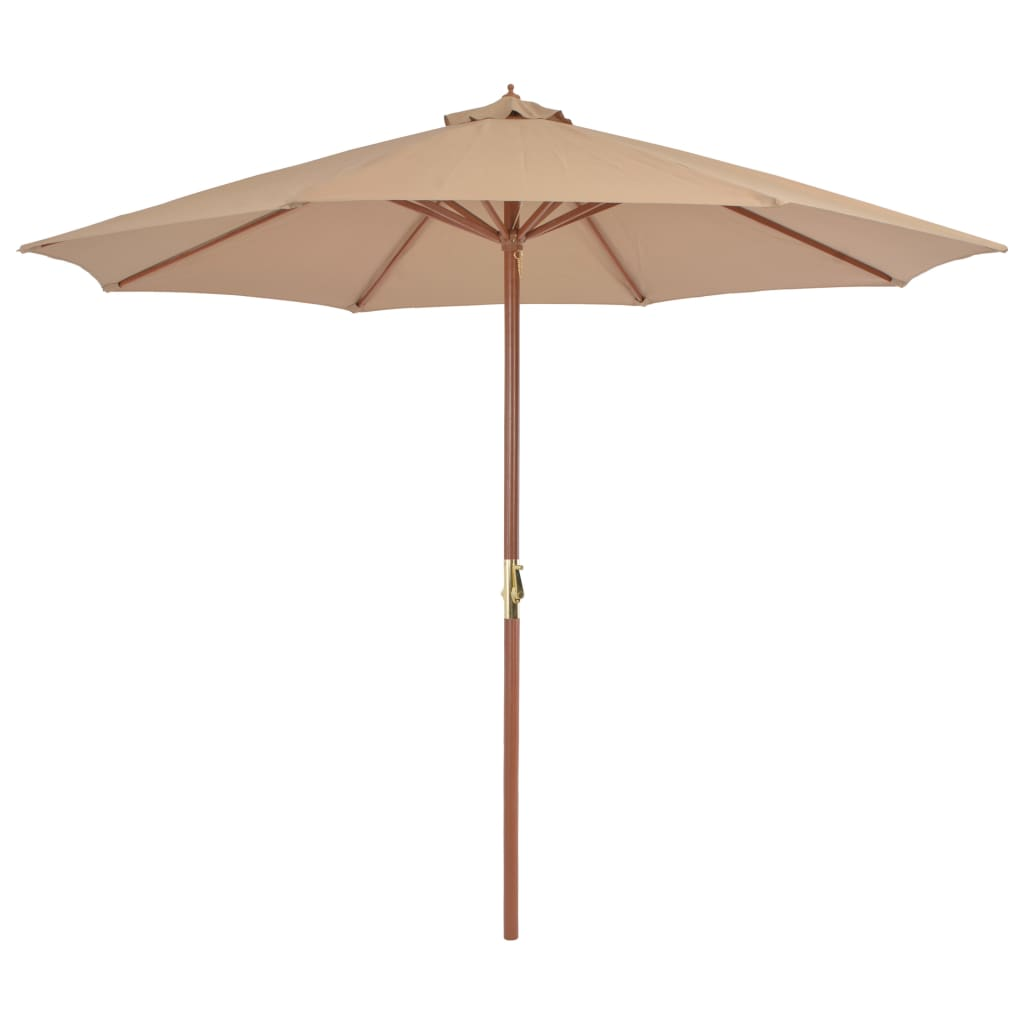 Outdoor Parasol with Wooden Pole 300 cm Taupe 1