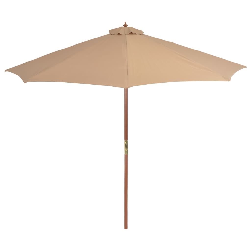 Outdoor Parasol with Wooden Pole 300 cm Taupe 3