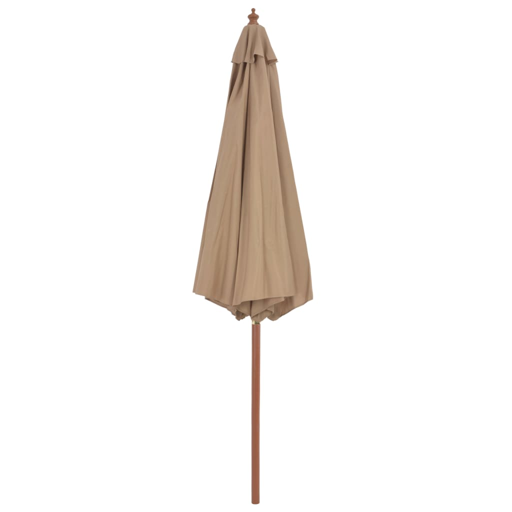 Outdoor Parasol with Wooden Pole 300 cm Taupe 4