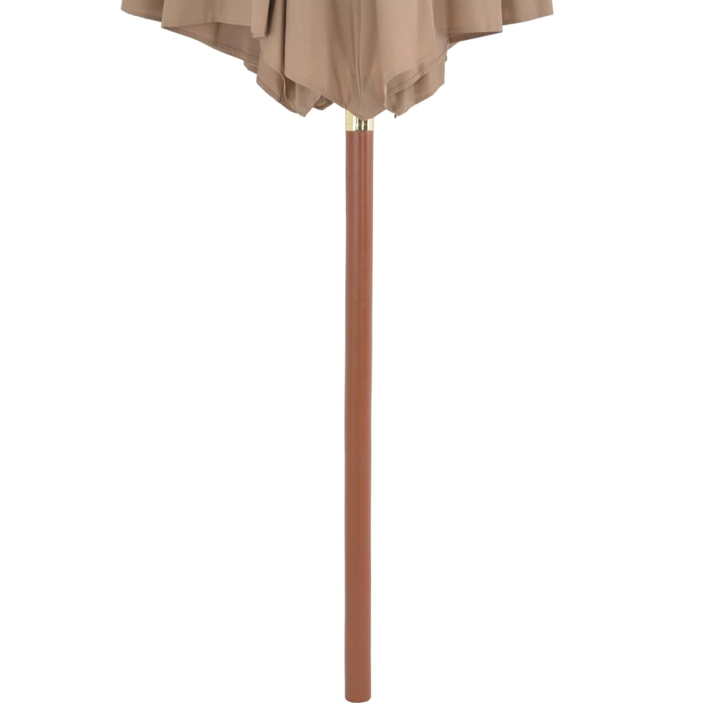 Outdoor Parasol with Wooden Pole 300 cm Taupe 5
