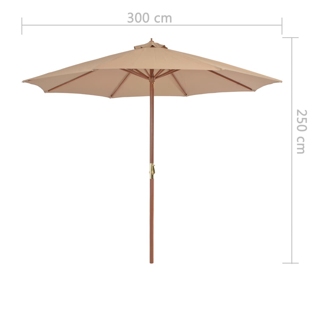 Outdoor Parasol with Wooden Pole 300 cm Taupe 7