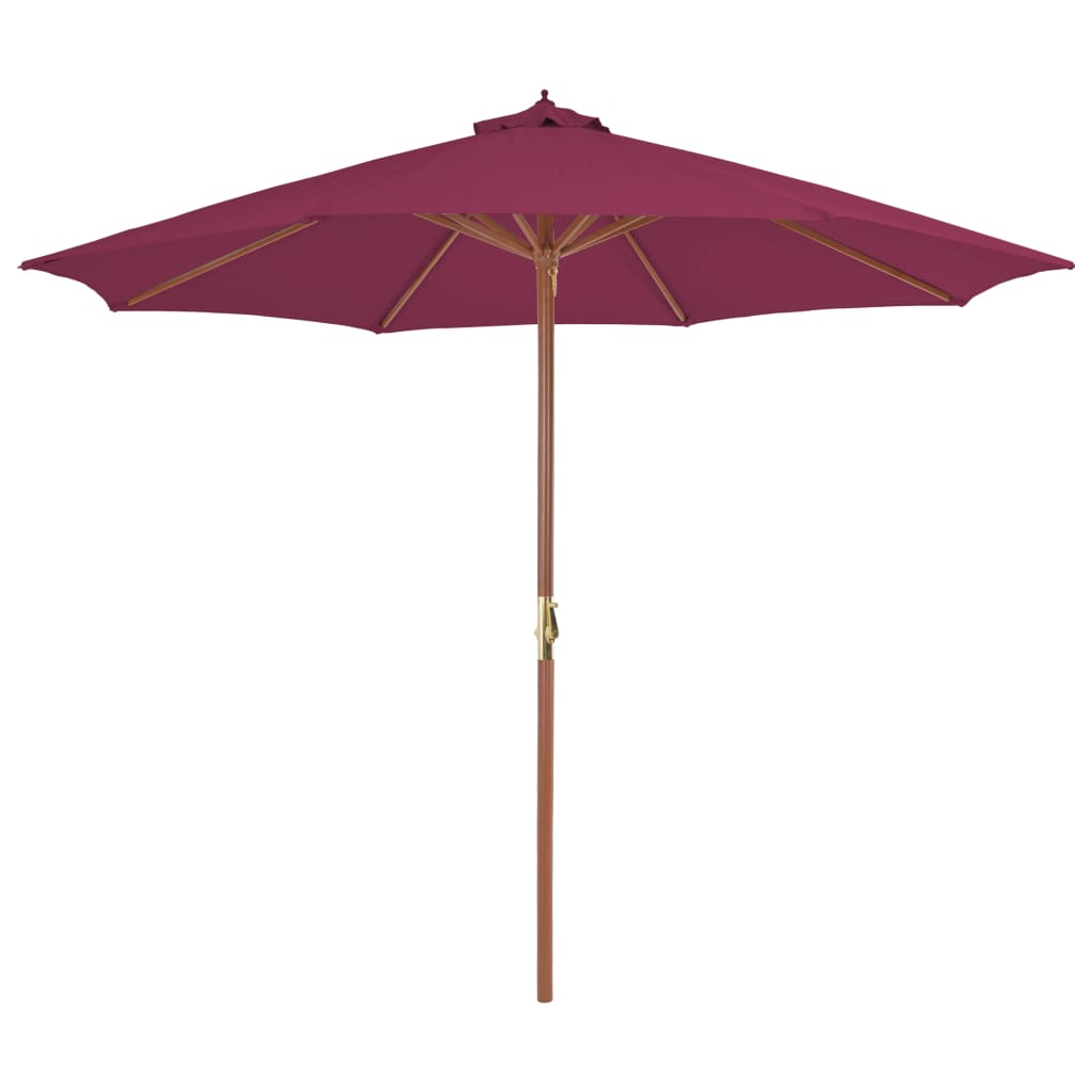 Outdoor Parasol with Wooden Pole 300 cm Bordeaux Red 1