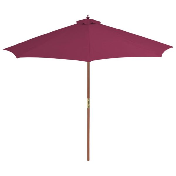 Outdoor Parasol with Wooden Pole 300 cm Bordeaux Red 3