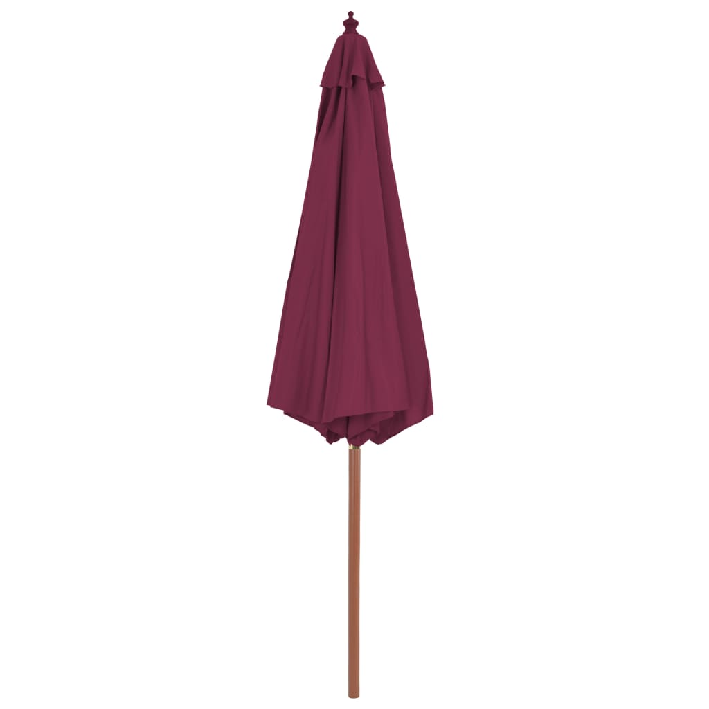 Outdoor Parasol with Wooden Pole 300 cm Bordeaux Red 4