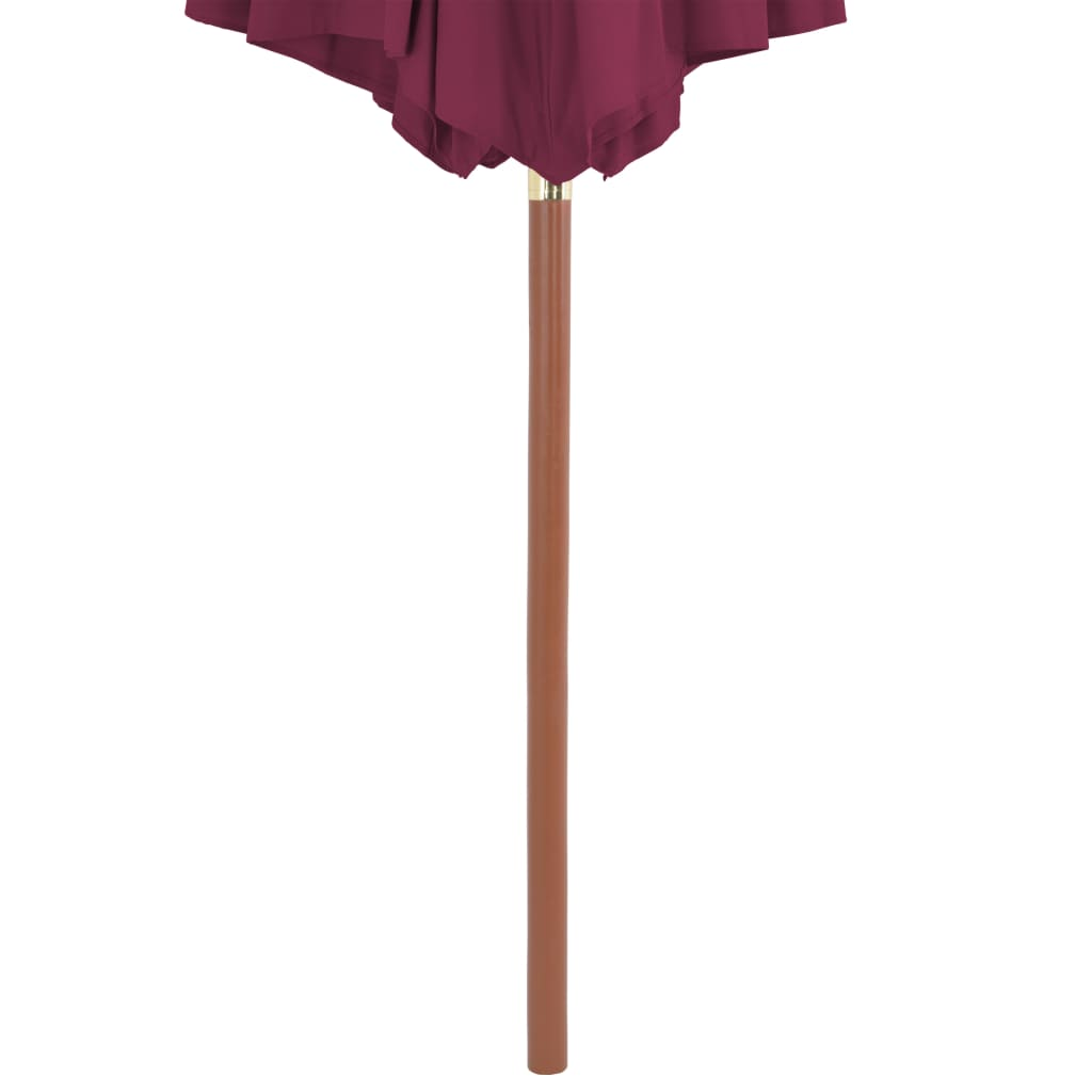 Outdoor Parasol with Wooden Pole 300 cm Bordeaux Red 5
