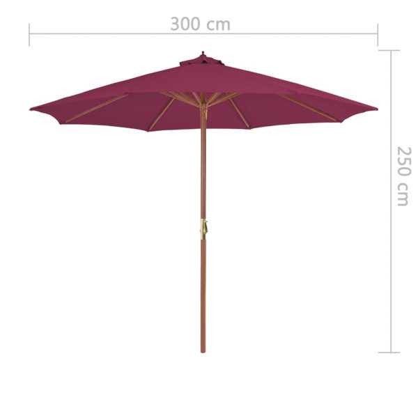 Outdoor Parasol with Wooden Pole 300 cm Bordeaux Red 7