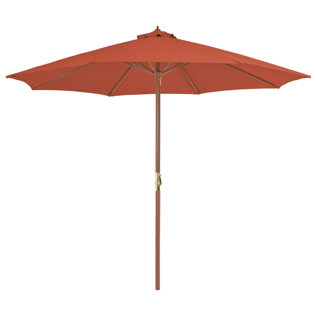 Outdoor Parasol with Wooden Pole 300 cm Terracotta 1