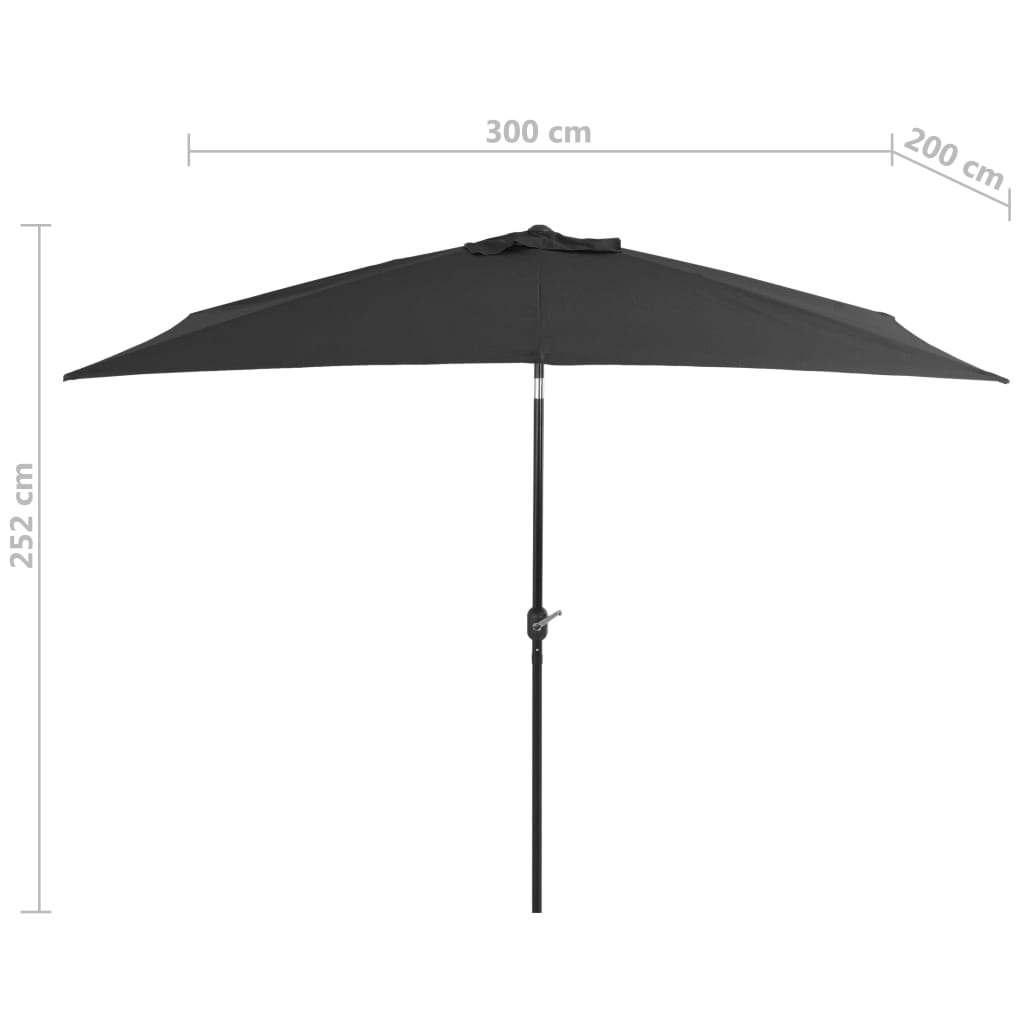Outdoor Parasol with Metal Pole 300×200 cm Anthracite 7