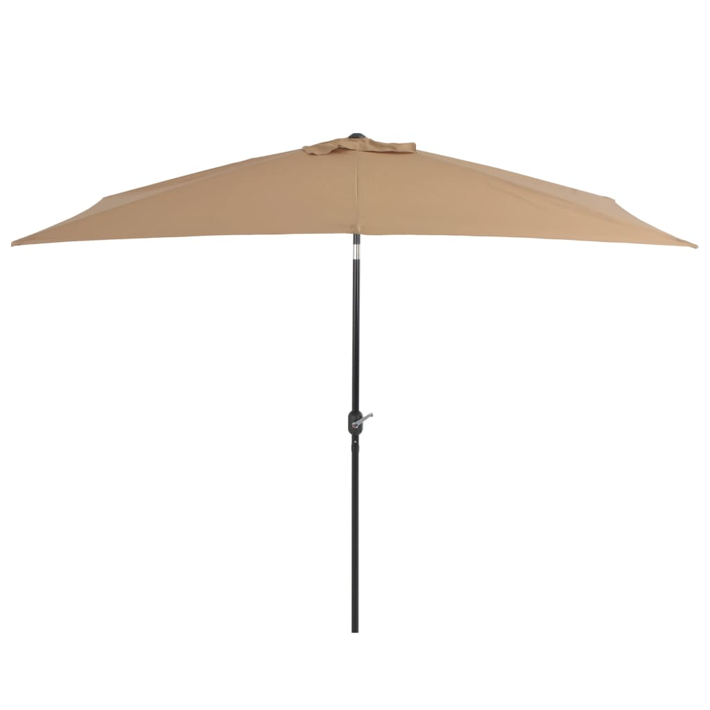 Outdoor Parasol with Metal Pole 300×200 cm Taupe 1