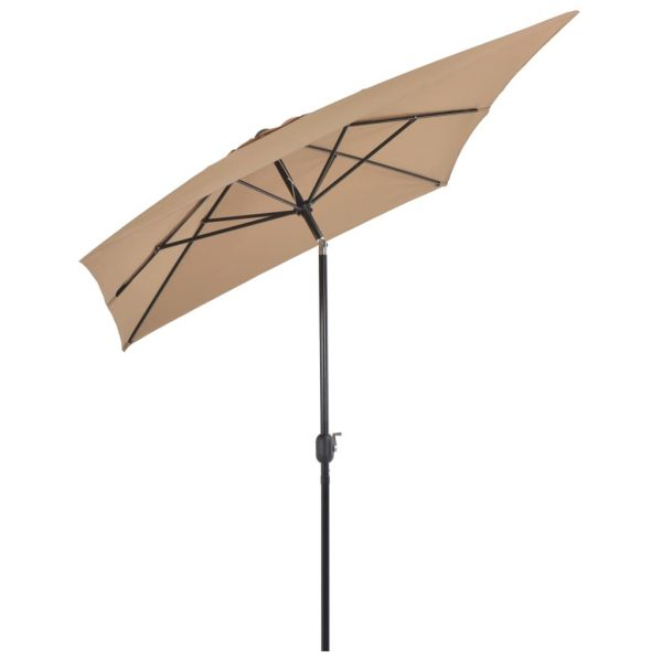 Outdoor Parasol with Metal Pole 300×200 cm Taupe 4
