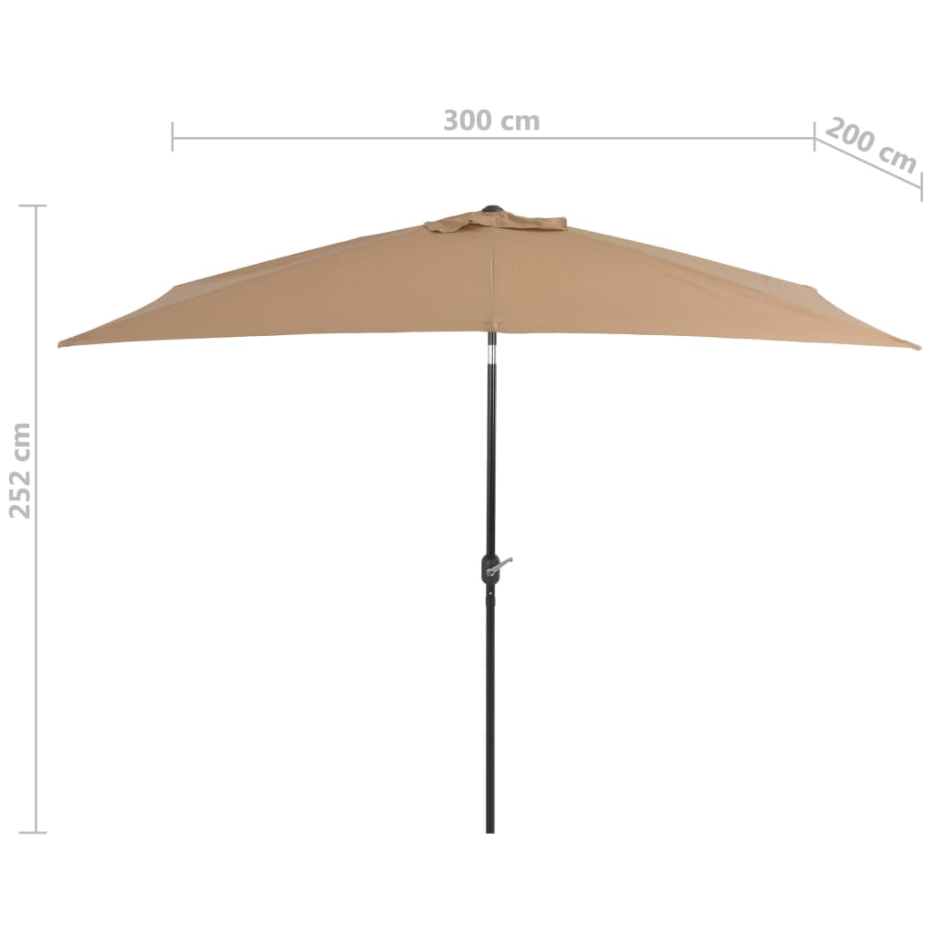 Outdoor Parasol with Metal Pole 300×200 cm Taupe 7