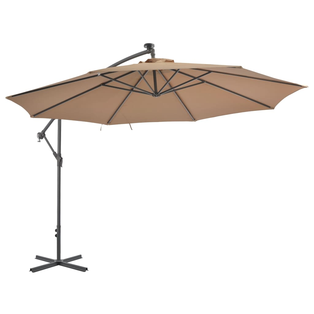 Cantilever Umbrella with Aluminium Pole 350 cm Taupe 2