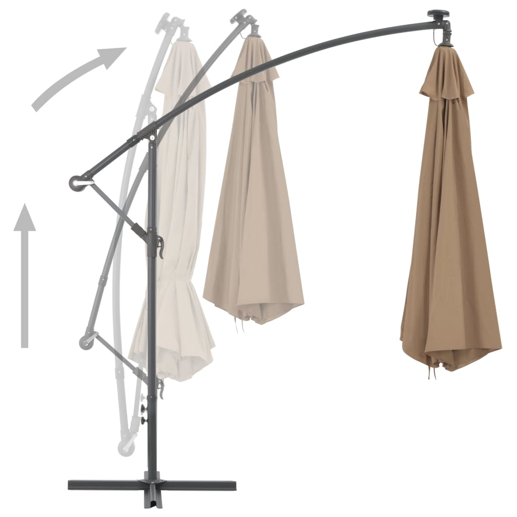 Cantilever Umbrella with Aluminium Pole 350 cm Taupe 4
