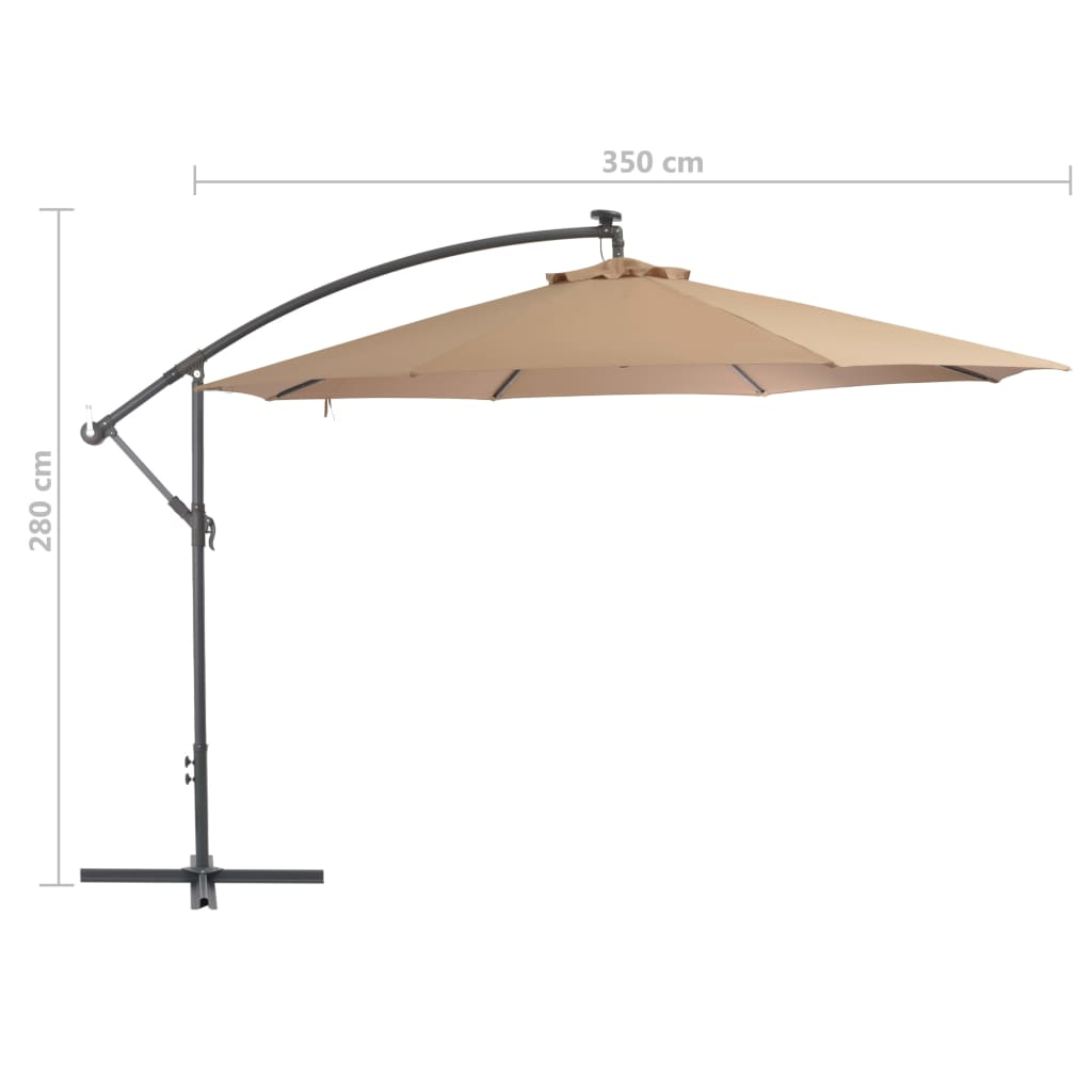 Cantilever Umbrella with Aluminium Pole 350 cm Taupe 8