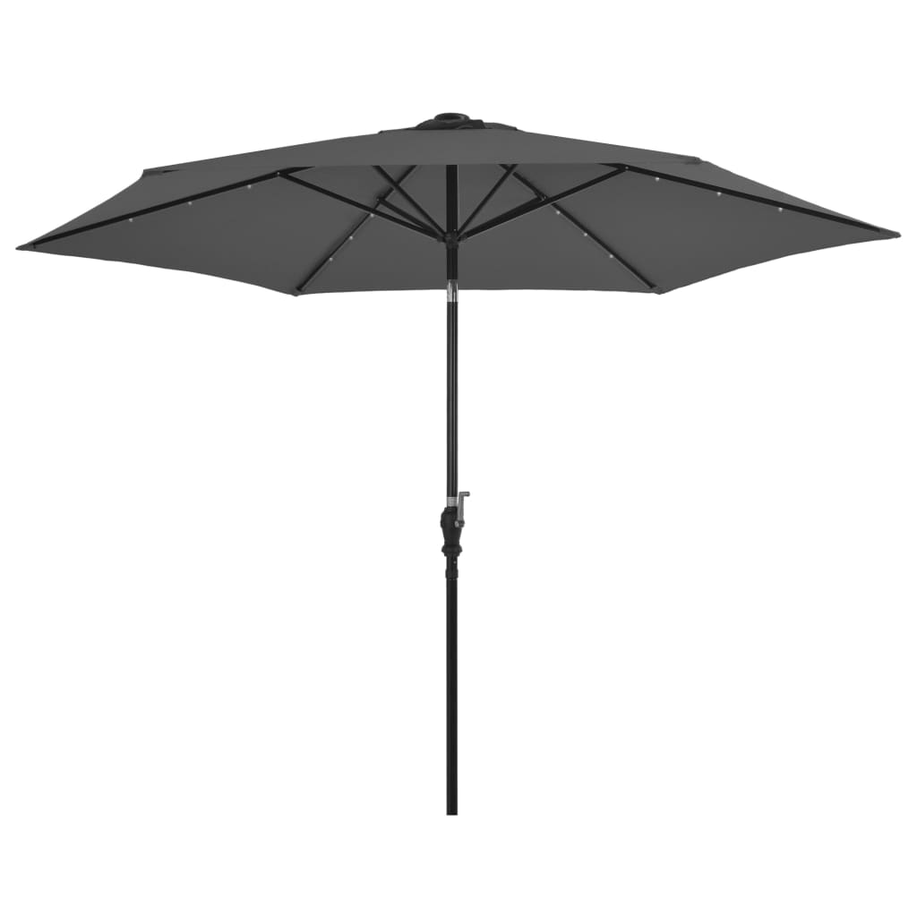 Outdoor Parasol with LED Lights and Steel Pole 300cm Anthracite 1