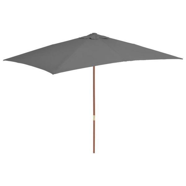 Outdoor Parasol with Wooden Pole 200×300 cm Anthracite 1