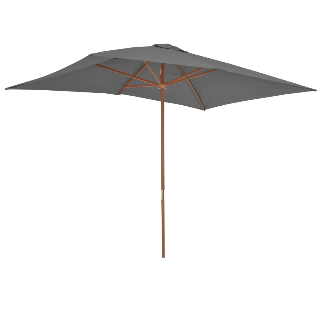 Outdoor Parasol with Wooden Pole 200×300 cm Anthracite 5