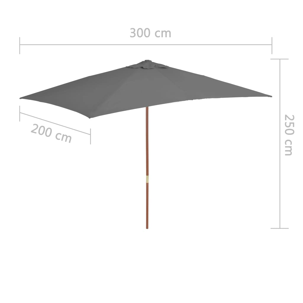 Outdoor Parasol with Wooden Pole 200×300 cm Anthracite 7