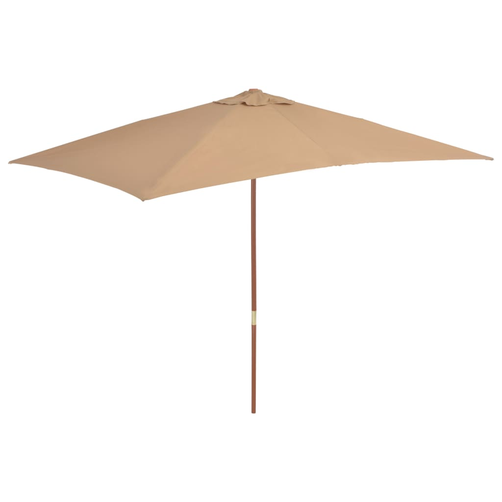 Outdoor Parasol with Wooden Pole 200x300 cm Taupe