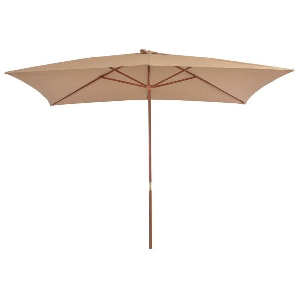 Outdoor Parasol with Wooden Pole 200×300 cm Taupe 3