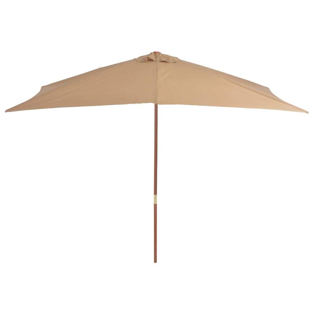 Outdoor Parasol with Wooden Pole 200×300 cm Taupe 4
