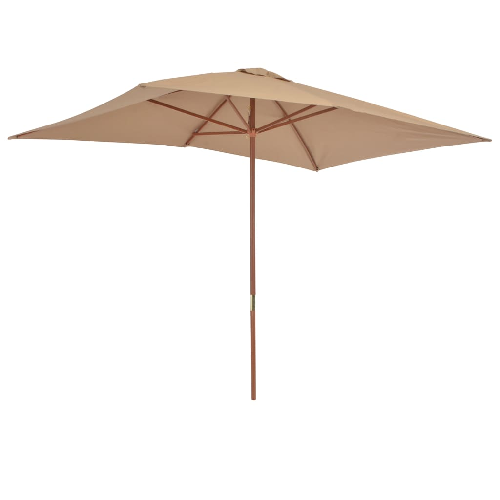 Outdoor Parasol with Wooden Pole 200×300 cm Taupe 5