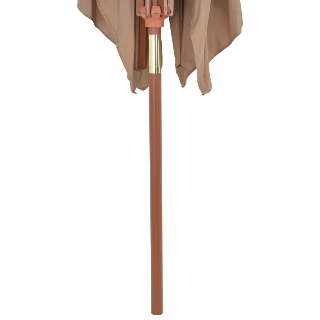 Outdoor Parasol with Wooden Pole 200×300 cm Taupe 6