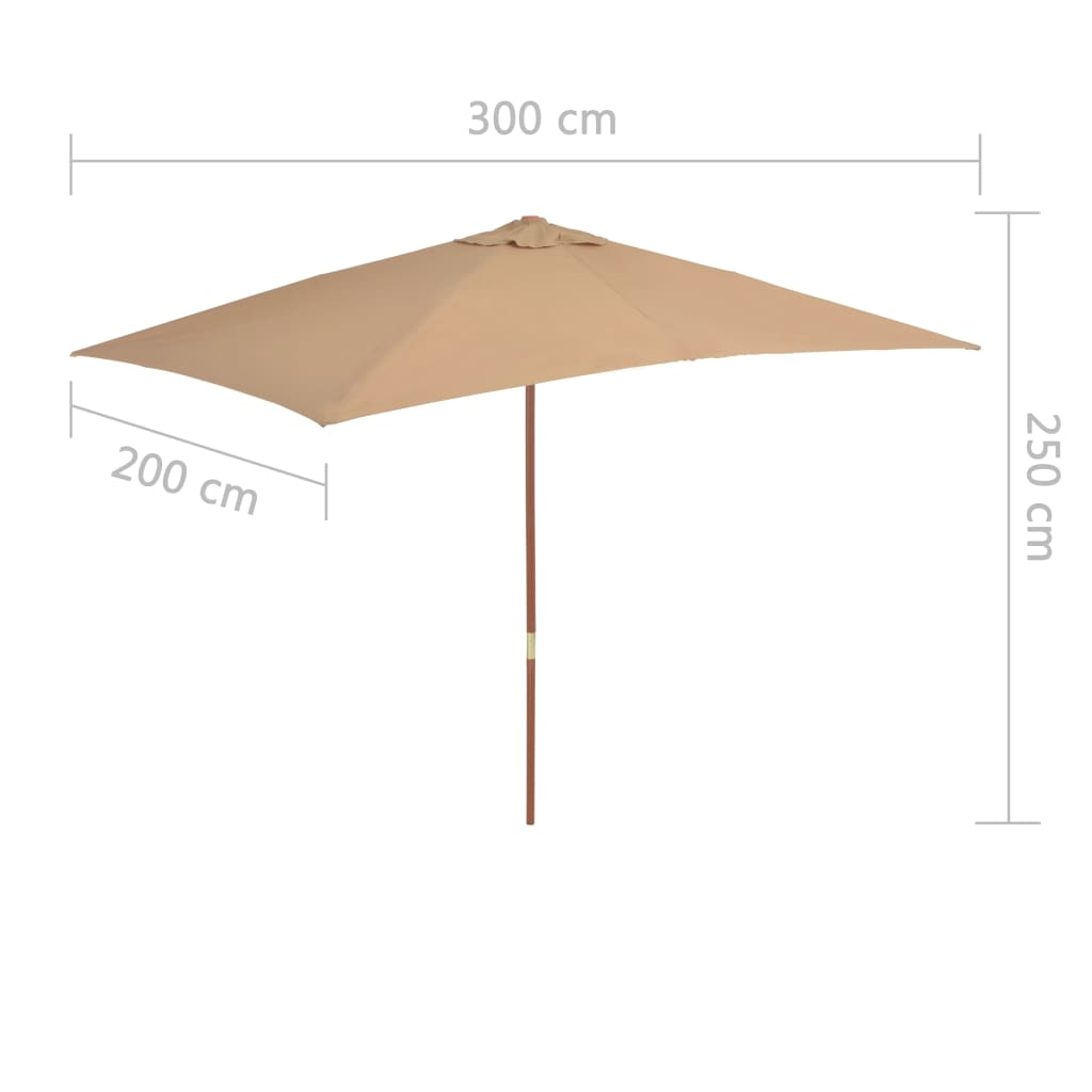 Outdoor Parasol with Wooden Pole 200×300 cm Taupe 7