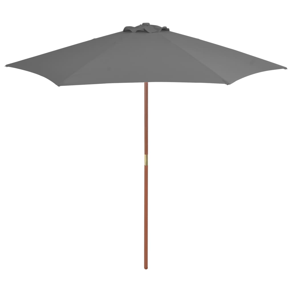 Outdoor Parasol with Wooden Pole 270 cm Anthracite 1