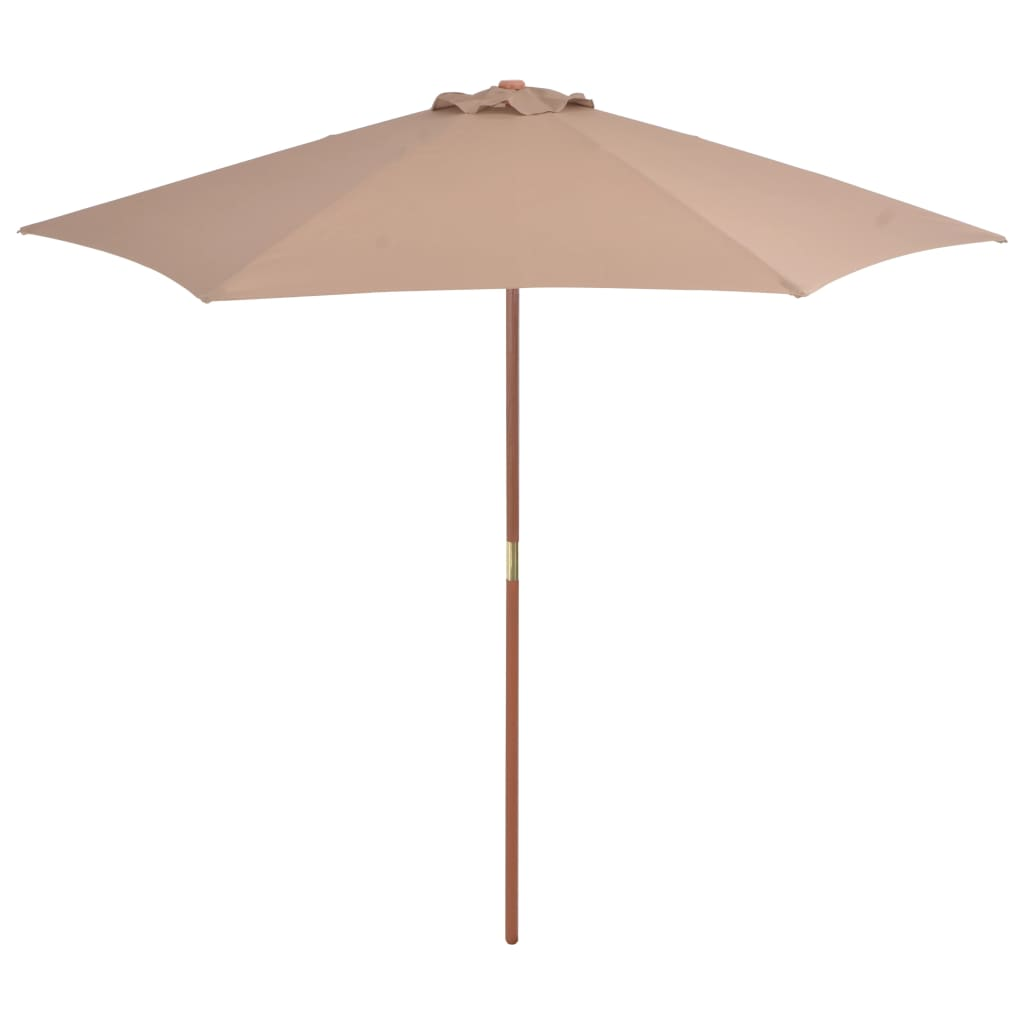 Outdoor Parasol with Wooden Pole 270 cm Taupe 1