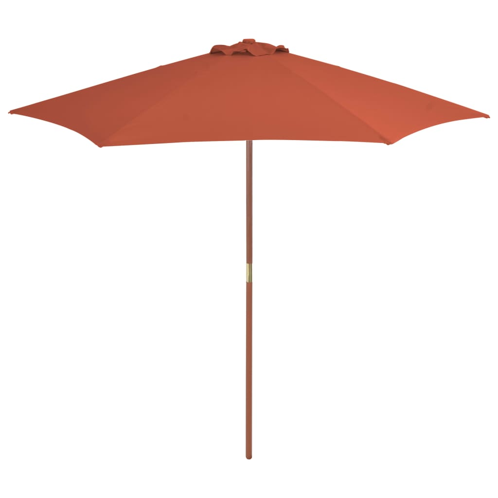 Outdoor Parasol with Wooden Pole 270 cm Terracotta 1