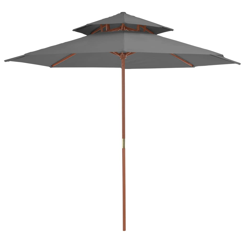 Double Decker Parasol with Wooden Pole 270 cm Anthracite 1