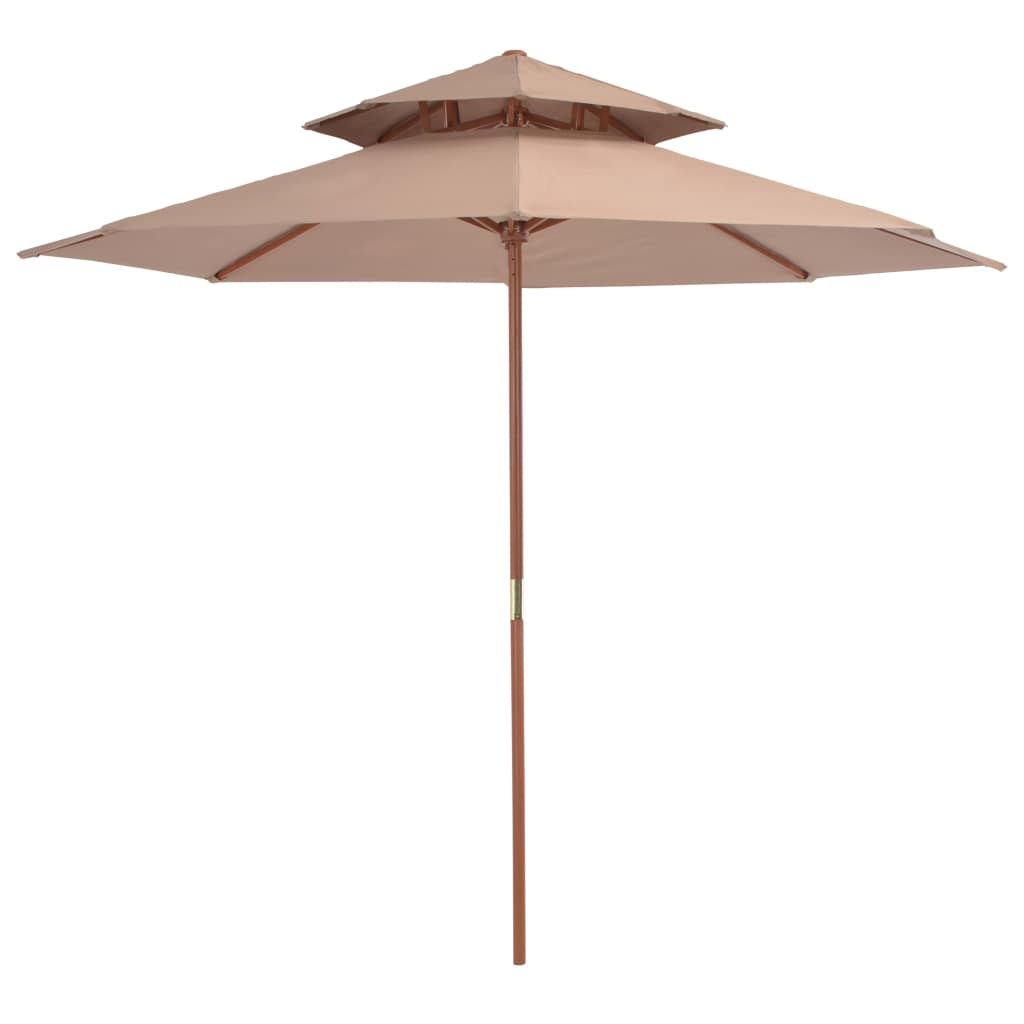 Double Decker Parasol with Wooden Pole 270 cm Taupe 1